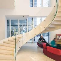 Quality European-Style Stainless Steel Glass Curved Staircase Arc Stairs for sale