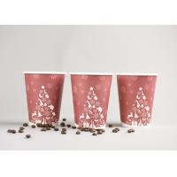 Quality Recyclable 12oz Disposable To Go Coffee Cups With Plastic Cover , Red Color for sale