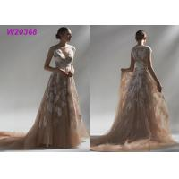Quality Ball Multi Colored Wedding Gowns Brown Lace Appliques Bridal Gowns Long Robe for sale