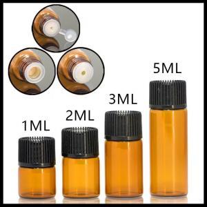 China Mini Size Essential Oil Glass Bottles Normal Cap For Serum / Perfume 1ml 2ml 3ml 5ml on sale