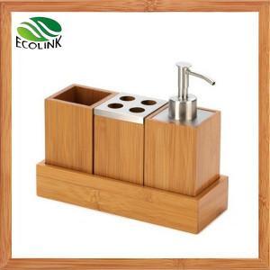 Quality China LED Lighting /Bamboo Bathroom Set Bathroom Accessories Bamboo Soap Dispensor for sale