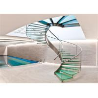 Buy cheap Modern Tempered Glass Staircase Steel handrail spiral staircase canada from wholesalers