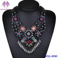 Quality New Retro leaf Tassel Carved Alloy Rhinestone Flower Chain Necklace for sale