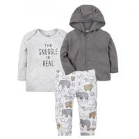 China Boy 3 Pcs Baby Clothes Set Print Animal Baby Clothes Pants And Hooded Top on sale