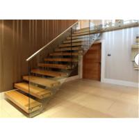 Quality Single Square Tube Stringer Stairs With Wooden Tread Straight Stairs Systems For You for sale