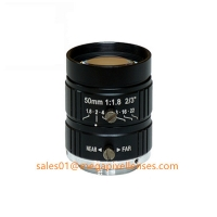 """Quality 2/3"""" 50mm F1.8 5Megapixel Manual IRIS C Mount Industrial FA Lens, 35mm 5MP Non Distortion Industrial Lens for sale"""