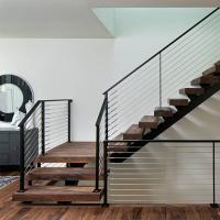 Quality Prefab Open Internal Single Stringer Staircase with Stainless Steel Wire Railing for sale