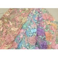 Quality Bead Embroidered Lace Fabric, Scalloped Multi Color 3D Flower Lace Fabric For Dress for sale