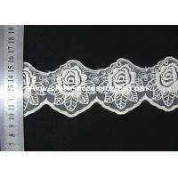China 3 Inch Vintage Rose Lace Fabric / Double Edged Flower Lace Trim For Sewing on sale