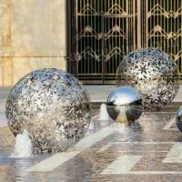 China Metal Outdoor Sphere Stainless Steel Garden Sculpture With Hollow Finish on sale