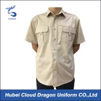 100% Cotton Khaki Police Security Guard Shirts Short Sleeve Slim Fit For Men