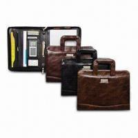 Quality Metal tag PU Leather Portfolio with U-shaped retractable Handles for sale