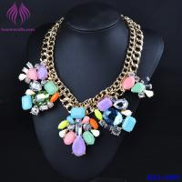 Quality Lady Double Chain color crystal Pendant Choker Chunky Statement Bib Necklace for sale