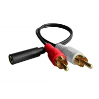 Quality 2 RCA Male Y Connector To 3.5mm Female Plug Audio Stereo Cable for sale