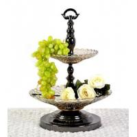 Quality double glass fruit bowl ,decorative tray for fruits for sale