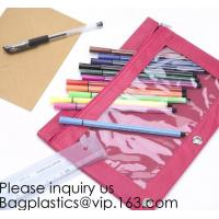 China Stationery products Pencil Pouch Pvc Portable Pencil Case For Students,3 Ring Binder Zippered Pencil Pouches with Clear on sale