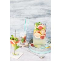 Buy 19.7 Cm Kraft Spiral Blue And White Paper Straws Environmental Protection at wholesale prices