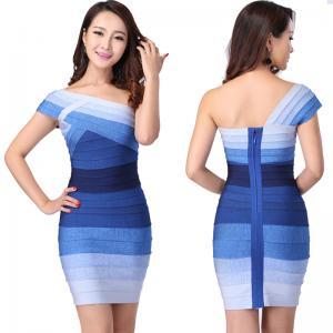 Quality Newest cultivate elegant one shoulder blue ombre short tight bandage dress for sale