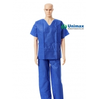 Quality Disposable Non Woven SMS Scrub Suits Tops Surgical Hospital Uniform for sale