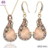 Quality Fashion Opal peacock Jewelry Sets rhinesstone peacock necklace earrings for sale