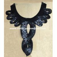China Water Soluable Vintage Black Lace Collar / Sequin Appliques For Costumes on sale