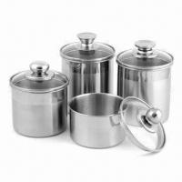 Quality 5-inch Stainless Steel Airtight Canister with Glass Lid for sale