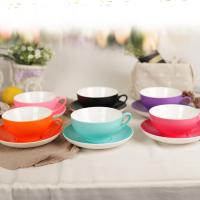 China Household Simple Ceramic Coffee Mug Set Saucer Soup Suit Low Water Absorption on sale