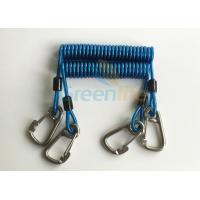 Quality Retractable Tool Tether Lanyards Blue Spring Elastic Plastic Coiled Tethers for sale