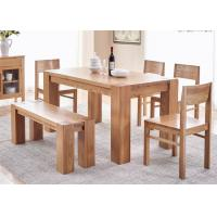 China Farmhouse  Natural Oak WoodHotel Dining Table With Benches Environment - Friendly on sale