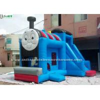 Quality Huge Outdoor Thomas Train Inflatable Bounce Houses With Slide Blue Color for sale