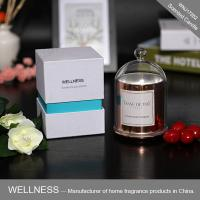 Quality Luxury domed soy wax candle with rose gold glass jar,bell glass lid and gift box for sale