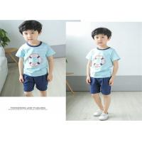 Quality Korean Version Children's Style Clothing , Printed Striped Childrens Summer Clothes for sale