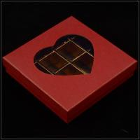 Base And Lid Cardboard Boxes , Valentine'S Day Chocolate Box With Plastic Window