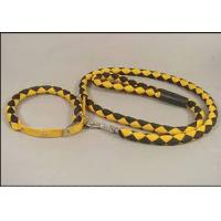Quality Yellow black braided polyester rope Soft PU dog leash for big dogs for sale