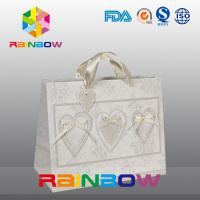 China Unique Design White / Red Custom Printed Paper Bags With Handle on sale