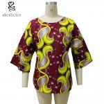 La impresión africana de los colores multi remata, 3/4 tops africanos del desgaste de la manga para las señoras