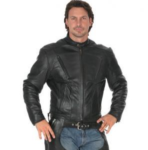China Men's black cool leather jacket on sale