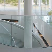 Quality Arched Tempered Glass Curved Glass Balustrade Aluminum Railing for sale