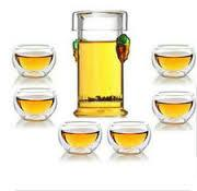Quality double wall glass cup glass teaset for sale