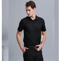 Quality 100% Cotton Casual Work Uniforms , Durable Short Sleeve Black Work Shirt For Men for sale
