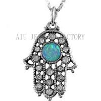 Retro Antique Silver Hamsa Hand Pendant Charming Blue Opal