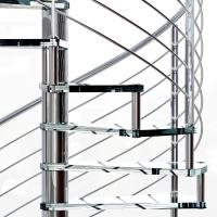 Quality Small Space House Used Stainless Steel Glass Spiral Staircase with 12mm Glass Railing for sale