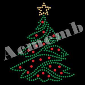 China Custom Christmas Tree Design Rhinestones Hot Fix Transfer on sale