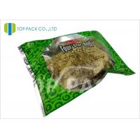 Quality Glossy Green Printed Laminated Pouches 3 Side Seal Aluminm Foil Clear Window for sale