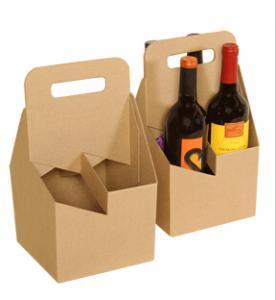 China Natural Brown Kraft Paper 4 Pack Beer Carrier Wine Box on sale