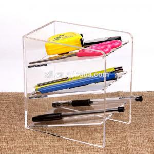 Quality 3 Tier Acrylic Shop Display Pen Holder Acrylic Stationery Shelf Display Rack Customized Logo for sale