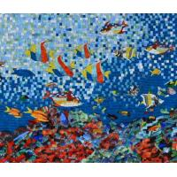 China Sea Creatures Exquisite Mosaic Tiles Designs Patterns , Large Mosaic Garden Wall Art on sale