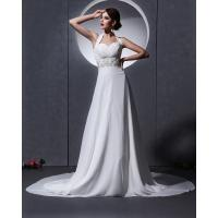 Buy Elegant around the neck Chiffon Wedding Dresses with open back / cathedral train at wholesale prices