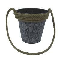 China Cheap price metal flower bucket garden pot with rope handle on sale