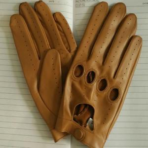 China men sheepskin black leather gloves  driving leather gloves on sale